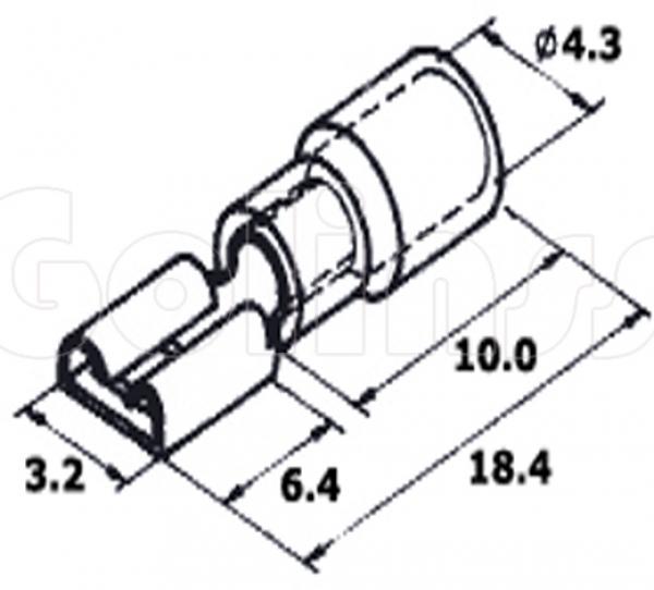 Клемма плоская для проводов 2,8 х 0,8 мм изолированная