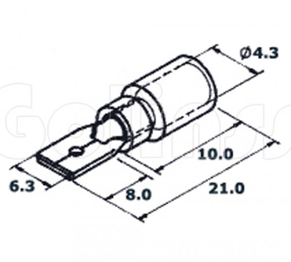 Клемма ножевая для проводов 6,3 х 0,8 мм изолированная