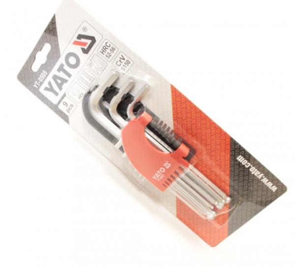 Набор шестигранных ключей HEX с полусферой Yato YT-0505 9CZ. 1,5 - 10 мм CrV