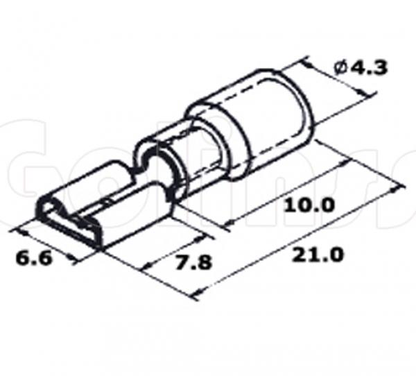 Клемма плоская для проводов 6.3 х 0,8 мм изолированная