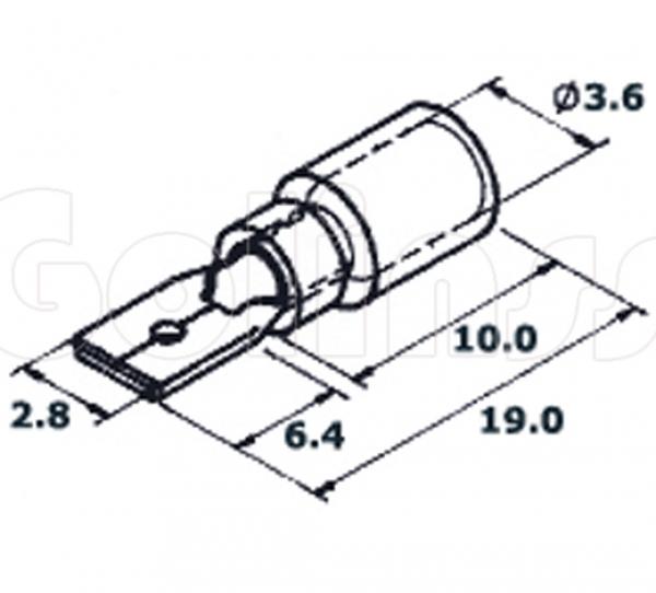 Клемма ножевая для проводов 2,8 х 0,5 мм изолированная