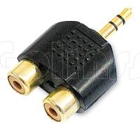 Переходник - разветвитель Jack 3,5 мм на 2 RCA (2 тюльпана) Gold