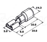 Клемма плоская для проводов 4,8 х 0,8 мм изолированная