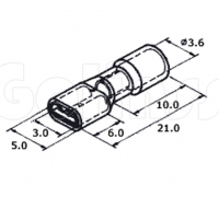 Клемма плоская для проводов 2,8 х 0,5 мм изолированная